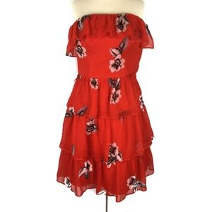 WHBM Red Floral Strapless Tiered Dress Size 00